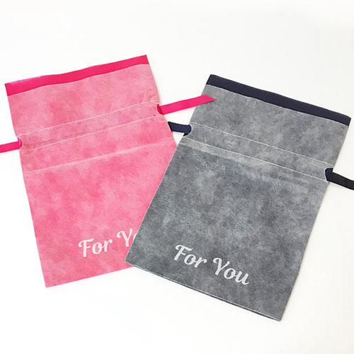 オリジナルエコバッグ、不織布、巾着型、シルク印刷